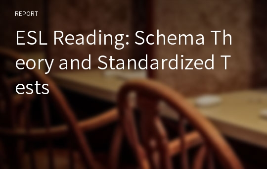 ESL Reading: Schema Theory and Standardized Tests