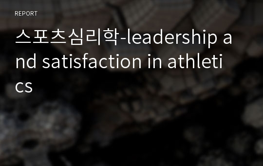 스포츠심리학-leadership and satisfaction in athletics