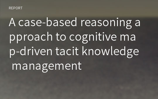 A case-based reasoning approach to cognitive map-driven tacit knowledge management