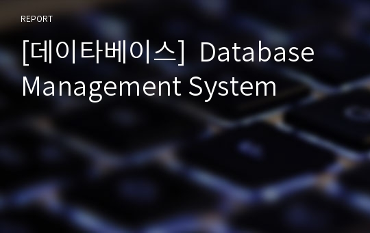 [데이타베이스]  Database Management System