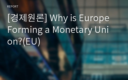 [경제원론] Why is Europe Forming a Monetary Union?(EU)