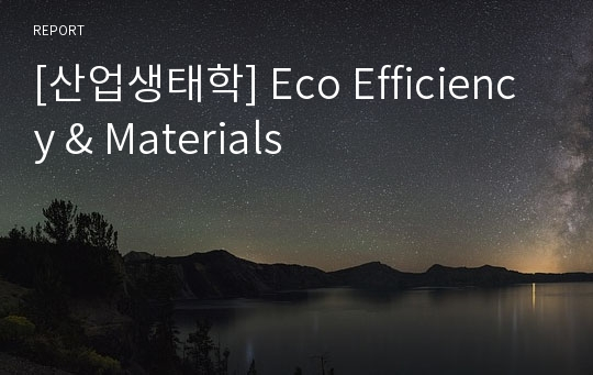 [산업생태학] Eco Efficiency & Materials