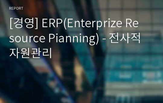 [경영] ERP(Enterprize Resource Pianning) - 전사적자원관리