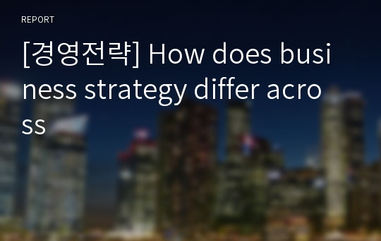 [경영전략] How does business strategy differ across