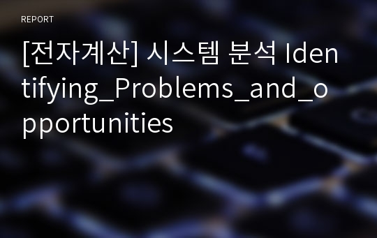 [전자계산] 시스템 분석 Identifying_Problems_and_opportunities