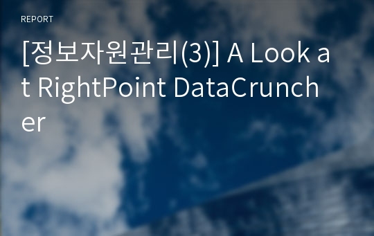 [정보자원관리(3)] A Look at RightPoint DataCruncher
