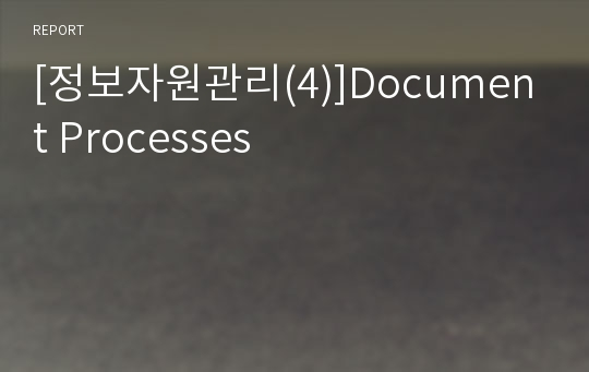 [정보자원관리(4)]Document Processes