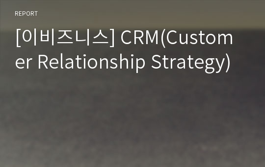 [이비즈니스] CRM(Customer Relationship Strategy)