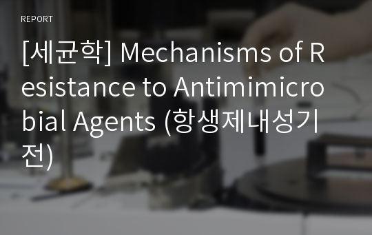 [세균학] Mechanisms of Resistance to Antimimicrobial Agents (항생제내성기전)