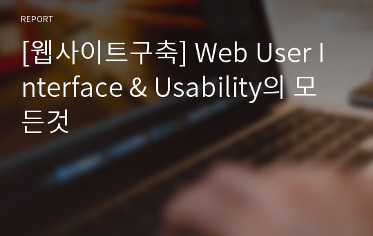 [웹사이트구축] Web User Interface & Usability의 모든것