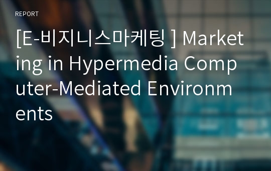 [E-비지니스마케팅 ] Marketing in Hypermedia Computer-Mediated Environments