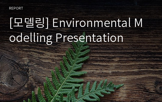 [모델링] Environmental Modelling Presentation