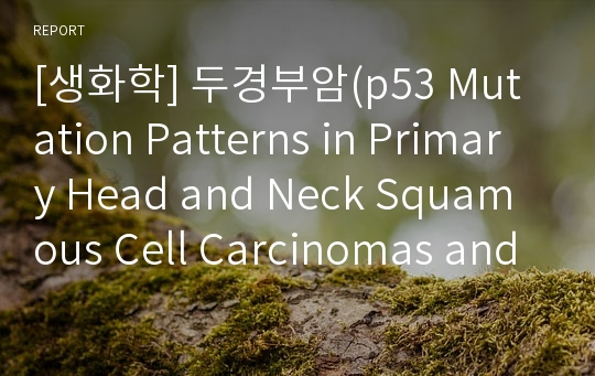 [생화학] 두경부암(p53 Mutation Patterns in Primary Head and Neck Squamous Cell Carcinomas and Their Metastatic Neck Nodes)