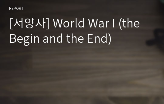 [서양사] World War I (the Begin and the End)