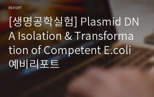 [생명공학실험] Plasmid DNA Isolation & Transformation of Competent E.coli 예비리포트