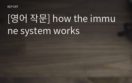 [영어 작문] how the immune system works