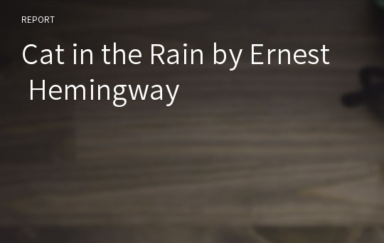 Cat in the Rain by Ernest Hemingway