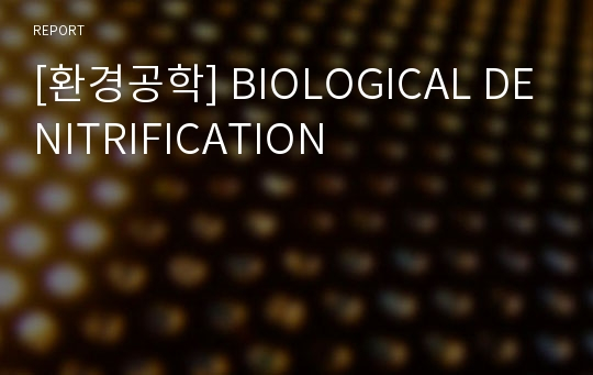 [환경공학] BIOLOGICAL DENITRIFICATION