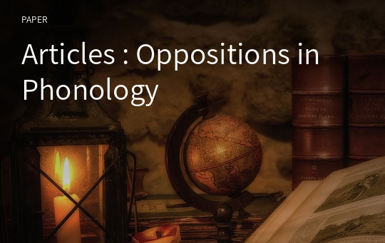 Articles : Oppositions in Phonology