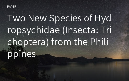 Two New Species of Hydropsychidae (Insecta: Trichoptera) from the Philippines