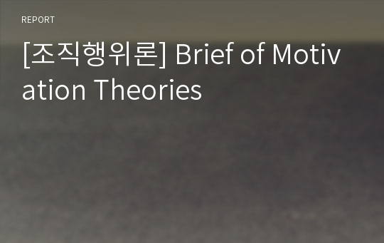 [조직행위론] Brief of Motivation Theories