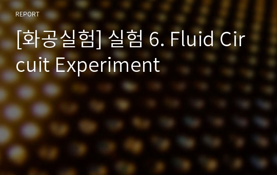 [화공실험] 실험 6. Fluid Circuit Experiment