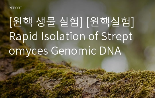 [원핵 생물 실험] [원핵실험]Rapid Isolation of Streptomyces Genomic DNA