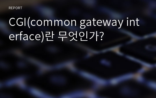 CGI(common gateway interface)란 무엇인가?