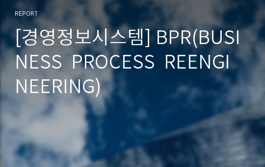 [경영정보시스템] BPR(BUSINESS  PROCESS  REENGINEERING)