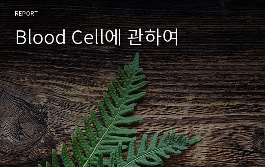 Blood Cell에 관하여