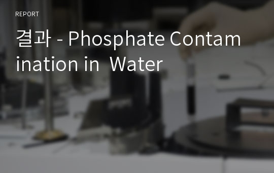 결과 - Phosphate Contamination in  Water