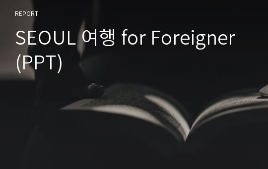 SEOUL 여행 for Foreigner(PPT)