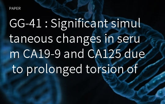 GG-41 : Significant simultaneous changes in serum CA19-9 and CA125 due to prolonged torsion of mature cystic teratoma of the ovary