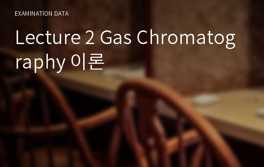 Lecture 2 Gas Chromatography 이론
