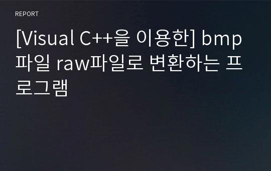 Visual C 을 이용한 Bmp파일 Raw파일로 변환하는 프로그램 레포트