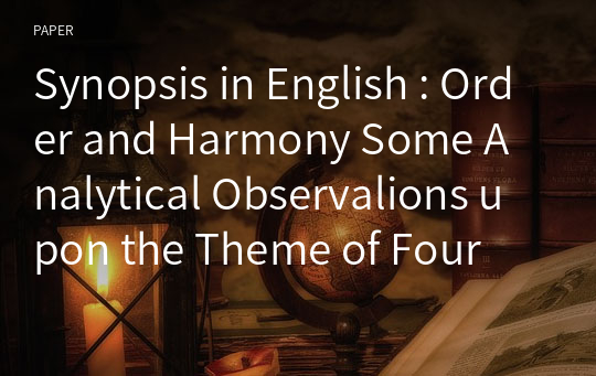 Synopsis in English : Order and Harmony Some Analytical Observalions upon the Theme of Four Quartets